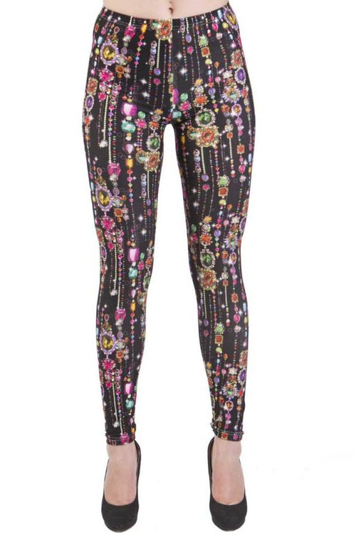 Black Jewel Print Plus Size Leggings - Home Goods Galore