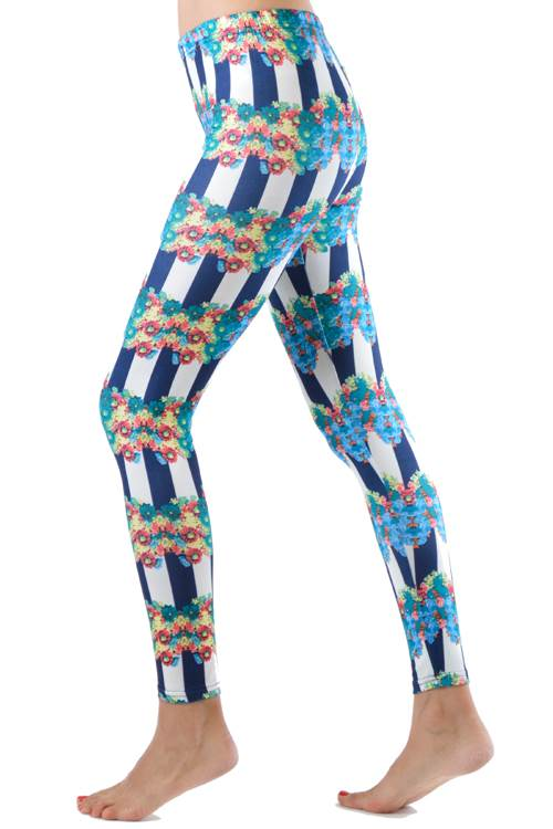 Navy Striped Floral Ring Footless Leggings - Home Goods Galore
