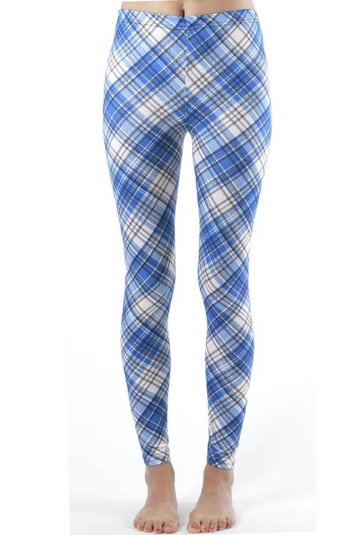 Blue Patch Plaid Ankle Leggings - Home Goods Galore