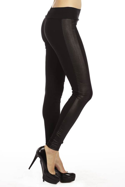 Highwaisted Leather side Leggings - Home Goods Galore