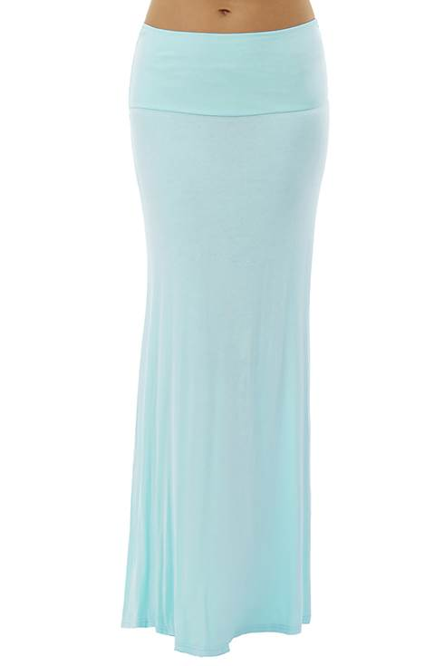 Fold Over Sky Colored Maxi Skirt - Home Goods Galore