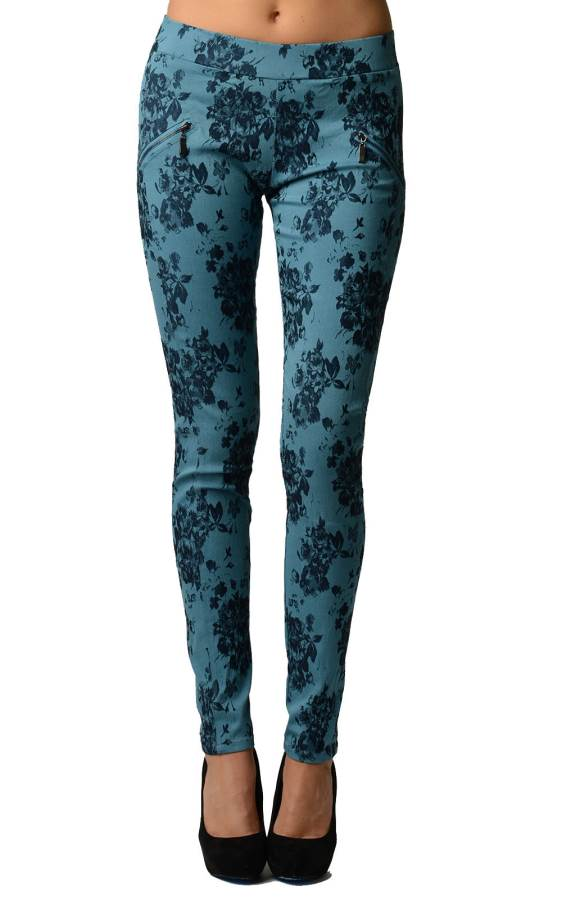 Floral Blue Cross Ziper Jeggings - Home Goods Galore
