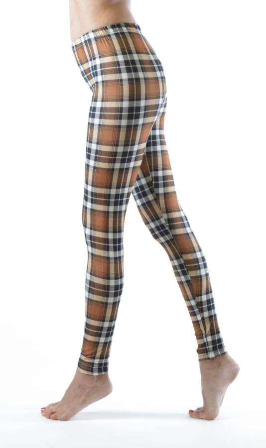 Brown Patch Plaid Ankle Leggings - Home Goods Galore