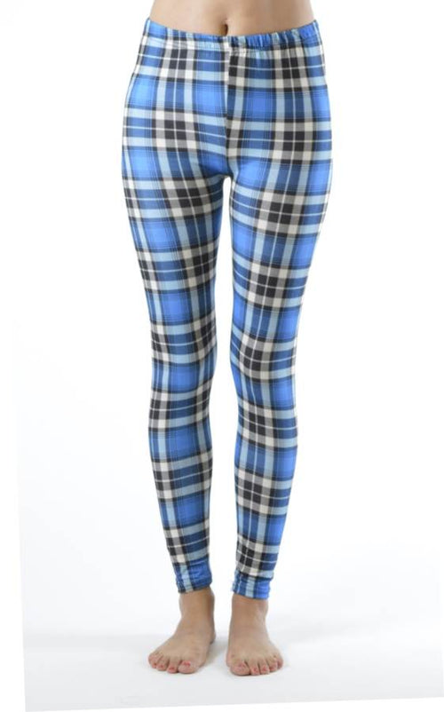 Plaid Baby Blue Ankle Leggings - Home Goods Galore