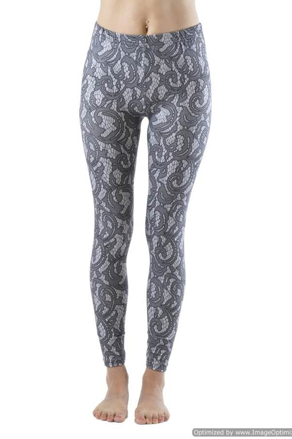 Elegant Lace Print Ankle Leggings - Home Goods Galore