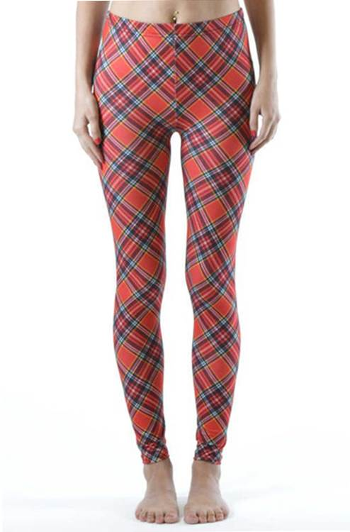 Ankle Length Red Plaid Leggings - Home Goods Galore