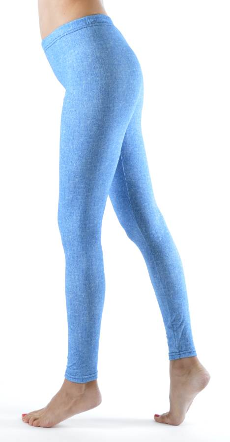 Baby Blue Denim Print Plus Size Ankle Leggings - Home Goods Galore