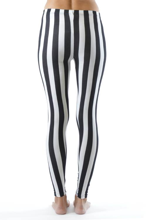 Black and White Striped Plus Size Leggings - Home Goods Galore