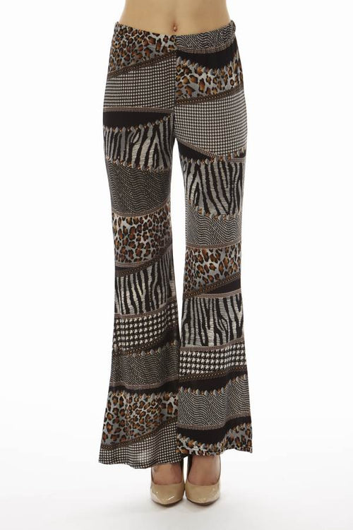 Black Patched Animal Prints Wide Leg Palazzo Pants - Home Goods Galore