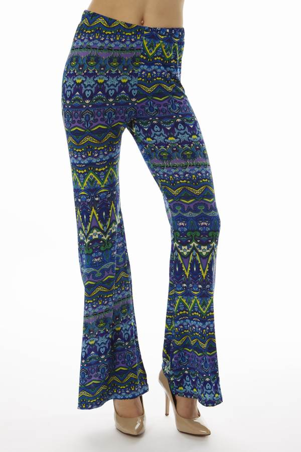 Low Waisted Tribal Blue Palazzo Pants - Home Goods Galore