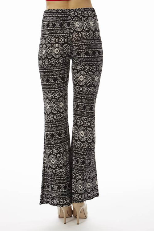 Low Waisted Black Tribal Palazzo Pants - Home Goods Galore