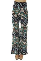 High Waisted Teal Zig-Zag Bell Bottoms - Home Goods Galore