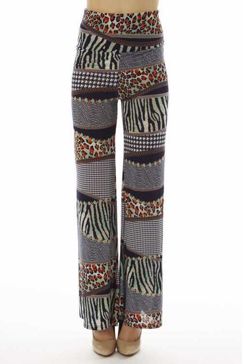 High Waist Houndstooth Animal Patch Palazzo Pants - Home Goods Galore