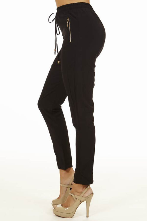 Women's Black Smocked-Waist Pants - Home Goods Galore