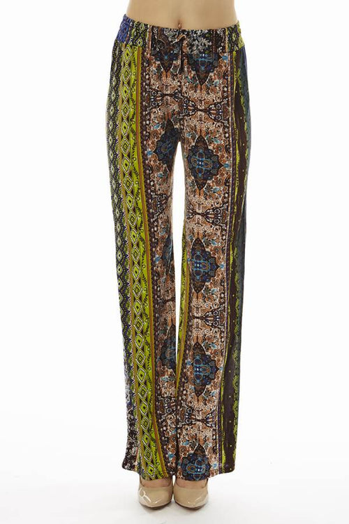 Tan Tribal Print Boho Palazzo Pants - Home Goods Galore