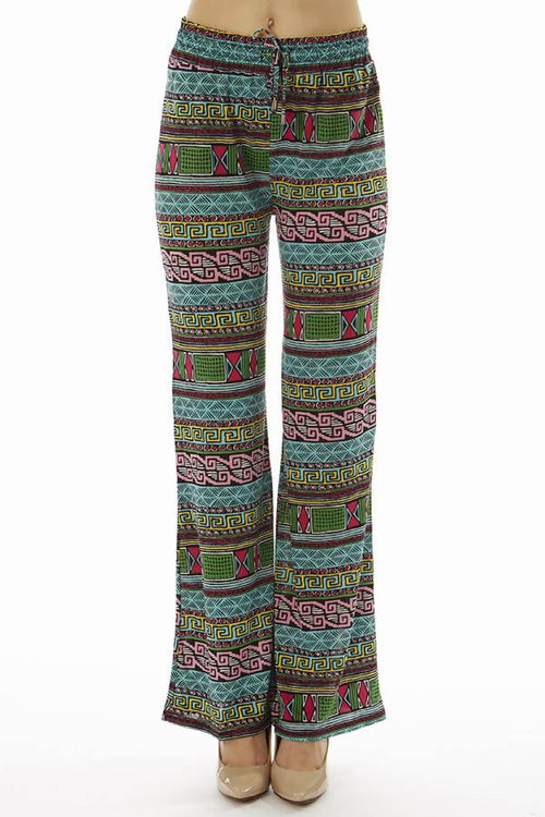 Flared Vibrant Tribal Palazzo Pants - Home Goods Galore