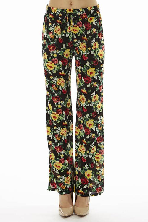 Flared Floral Wide Leg Pants - Home Goods Galore