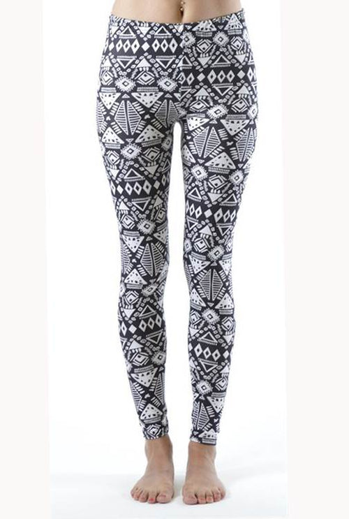 Funky White Tribal Ankle Leggings - Home Goods Galore
