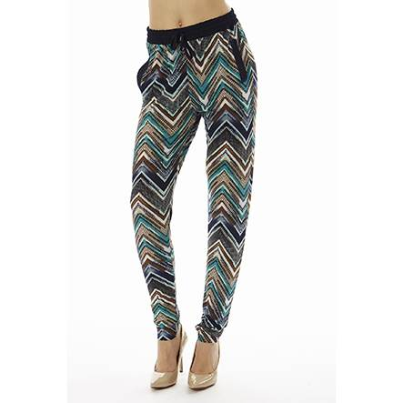 Teal Zig Zag Jogger Pants - Home Goods Galore