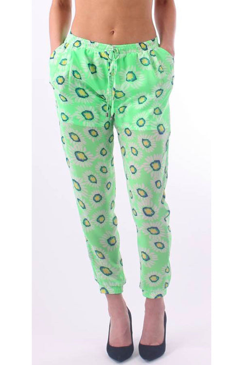 Green Chiffon Floral Print Harem Pants - Home Goods Galore