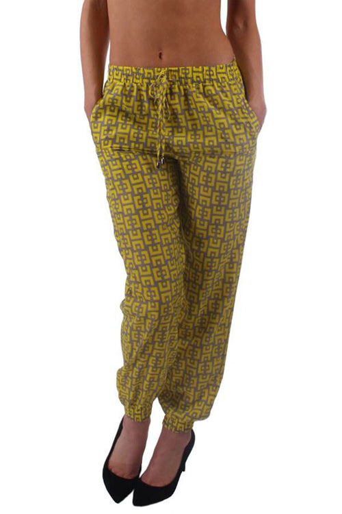 Yellow & Gray Print Harem Pants - Home Goods Galore