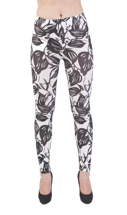 Bold Leaves Black Microfiber Leggings - Home Goods Galore