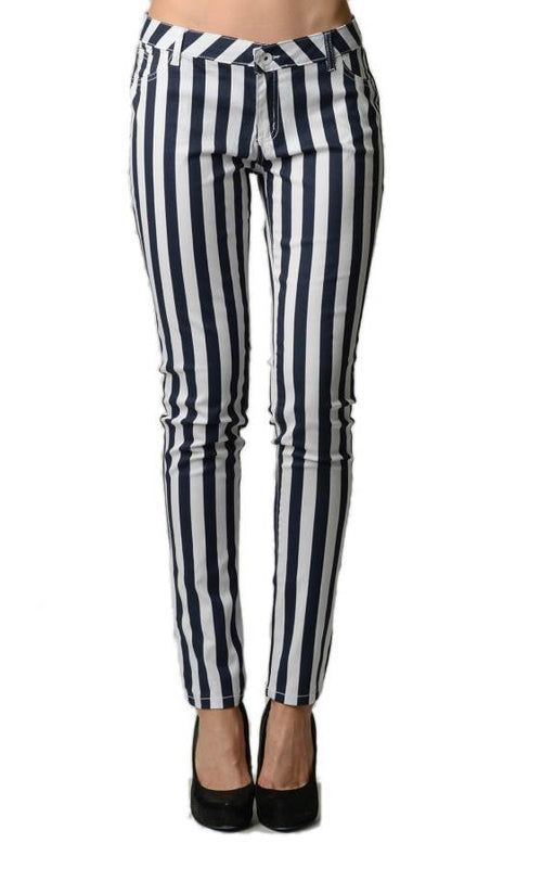Striped Black and White Skinny Jeans - Home Goods Galore