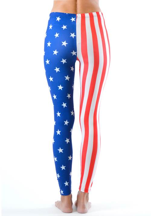 American Stars and Stripes Flag Print Leggings - Home Goods Galore