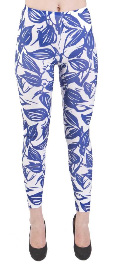 Blue Leaf Silhouette Plus Size Leggings - Home Goods Galore