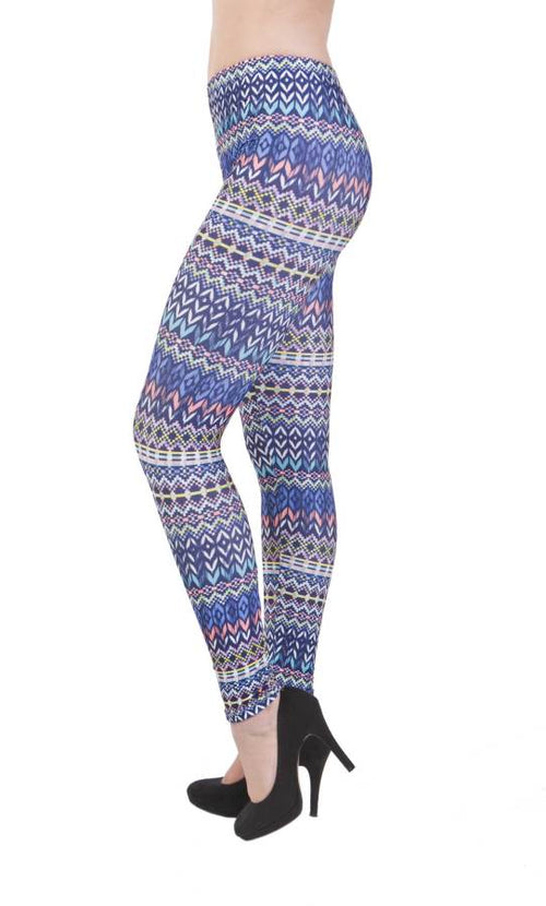 Tribal Blue Plus Size Leggings - Home Goods Galore