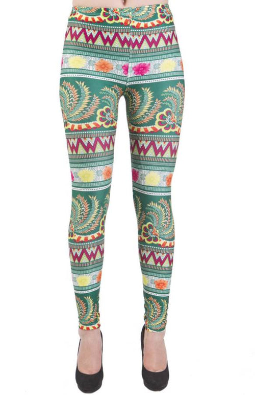 Green Floral Funky Plus Size Leggings - Home Goods Galore