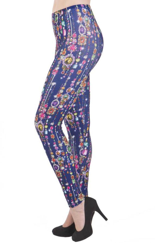 Blue Jewel Print Plus Size Leggings - Home Goods Galore