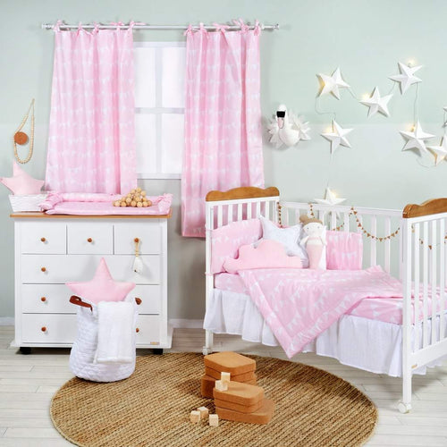 Pink Bunting Flags Cotton 3 Piece Crib Bedding Set
