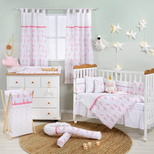 Pink Feather Cotton 3 Piece Crib Bedding Set For Girls