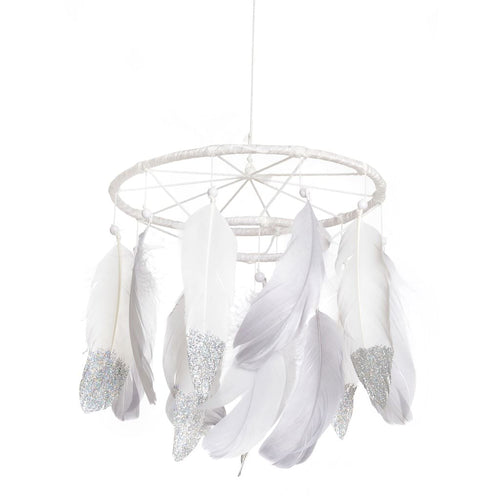 Dream Catcher Gray White Large Mobile Dream Catcher Mobile Feather