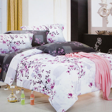 Queen Size Duvet Cover Set, 6 Piece Luxury Floral Bedding, Dolce Mela Orchid  DM722Q