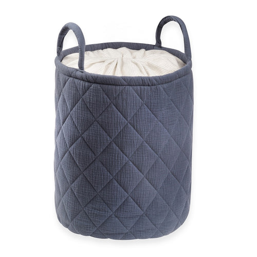 Navy Quilted storage Bag With Handle Tetra Storage Bin Closet Toy Box Container Organizer Fabric Bas