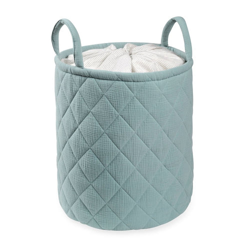 Green Quilted storage Bag With Handle Tetra Storage Bin Closet Toy Box Container Organizer Fabric Ba