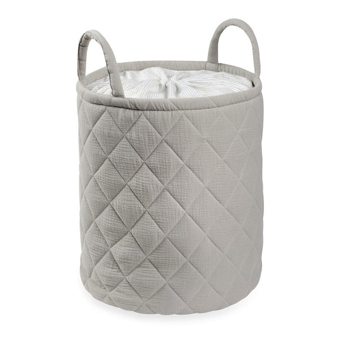 Gray Quilted storage Bag With Handle Tetra Storage Bin Closet Toy Box Container Organizer Fabric Bas