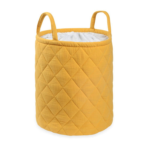 Mustard Quilted storage Bag With Handle Tetra Storage Bin Closet Toy Box Container Organizer Fabric