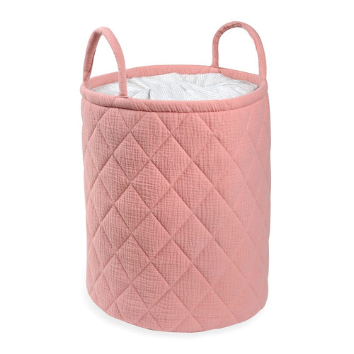 Pink Quilted storage Bag With Handle Tetra Storage Bin Closet Toy Box Container Organizer Fabric Bas