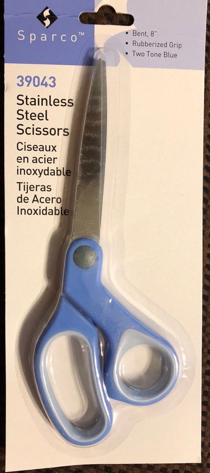 Sparco 8-Inch Bent Multipurpose Scissors, Stainless Steel, Blue (SPR39043)