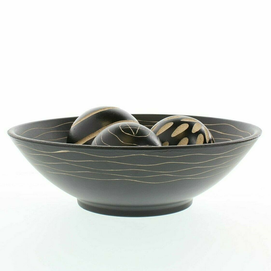 Tribal Style Wood Bowl with Three Carved Balls