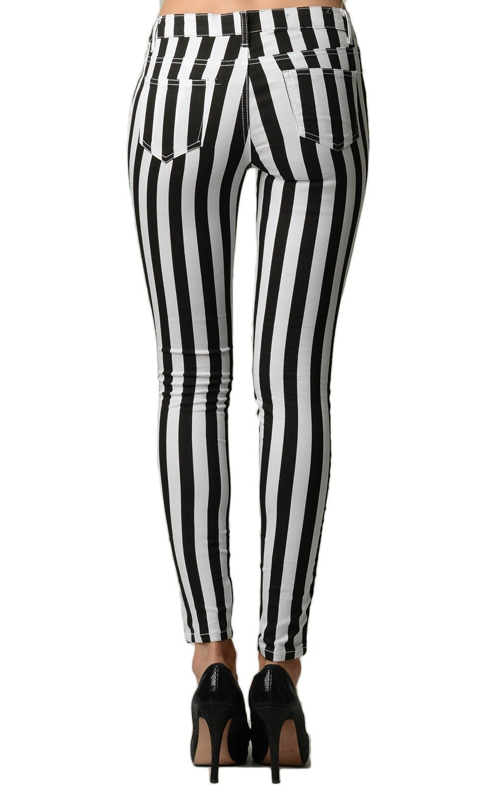 Stripped Black and White Skinny Jeans - Home Goods Galore