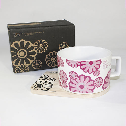 SYNC - [Flower Pink] Espresso Cup / Wood Coaster (2.5 inch height)