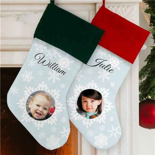 Christmas Snowflake Photo Stocking
