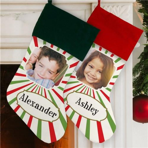 Christmas Stripes Photo Stocking