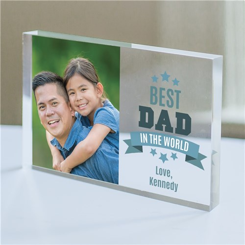 Personalized Best Dad In The World Acrylic Block - Home Goods Galore