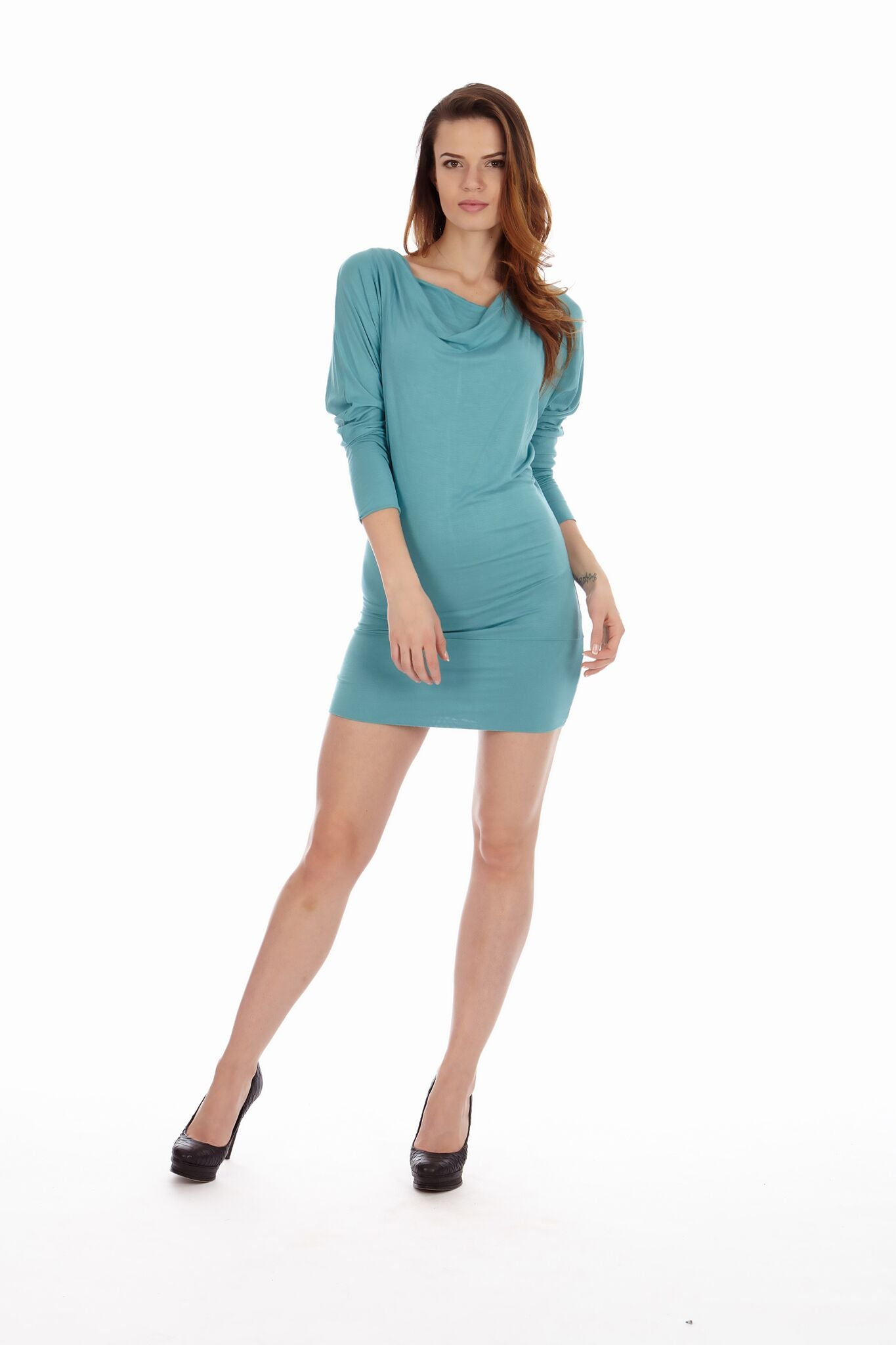 Sea Color Cowl Neck Dress