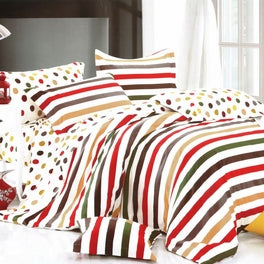 Blancho Bedding - [Rainbow Dots & Stripe] Luxury 5PC Bed In A Bag Combo 300GSM (Twin Size)